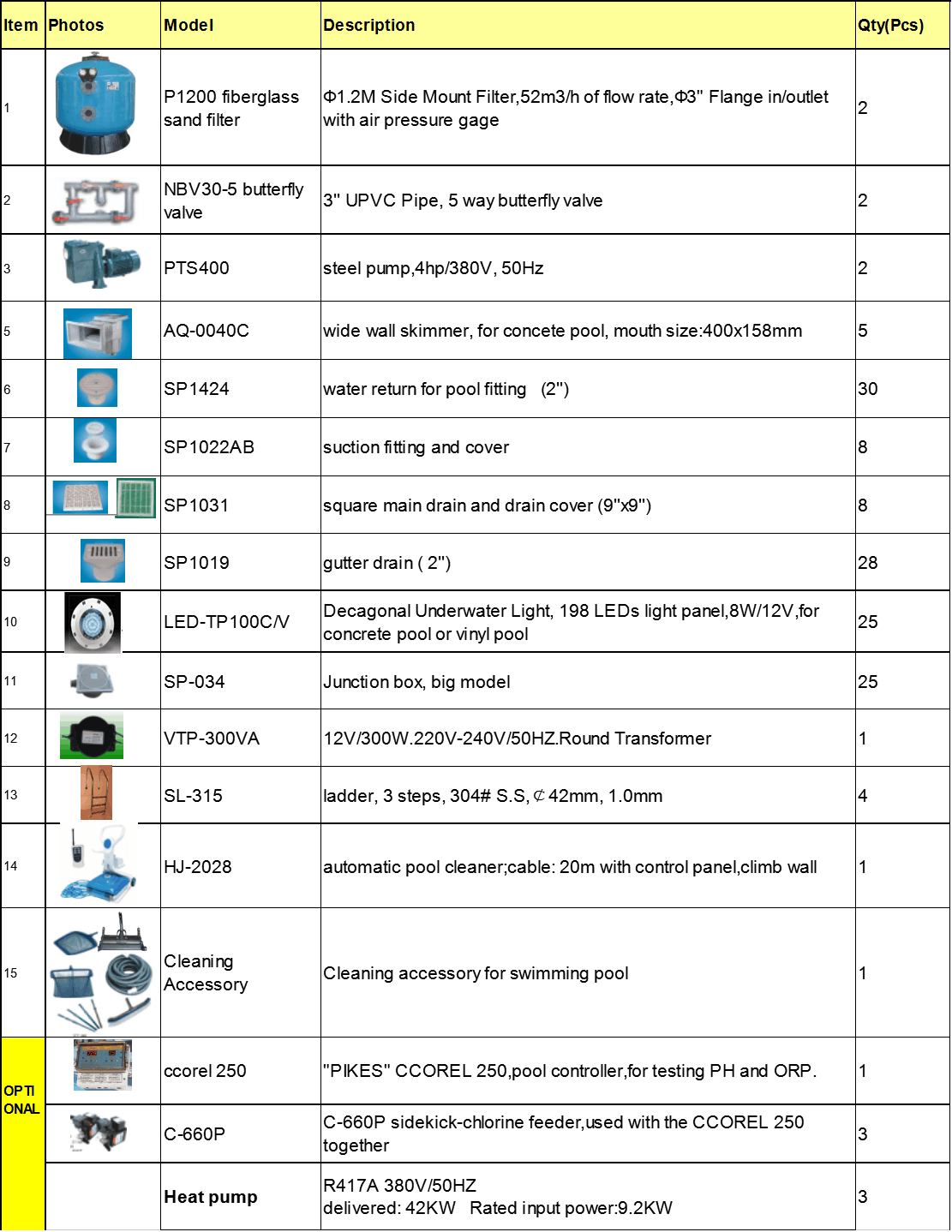 All Kinds Of Pool Equipment For 200m3